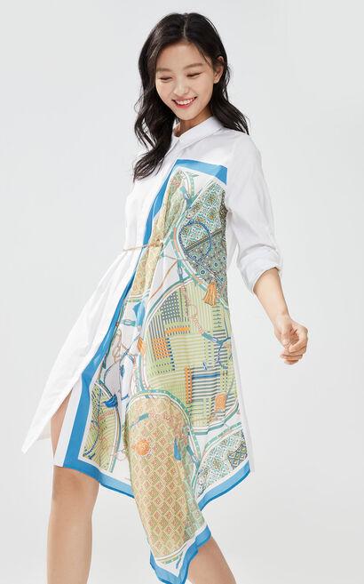印花拼接長版襯衫裙, 藍, large