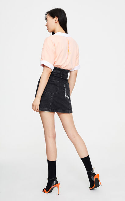 寬鬆百搭七分袖T恤, 粉色, large