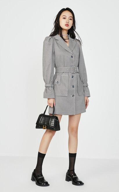 中長款格紋收腰通勤風洋裝, 灰色, large