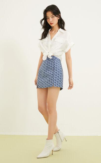 下擺綁結短版襯衫, 白, large