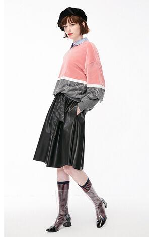 冬季新款絲絨拼接設計套頭衛衣女|11849S510