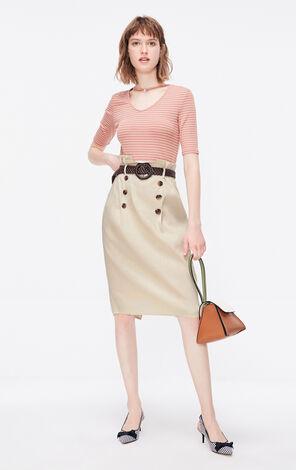 ONLY2019夏季新款高腰含亞麻半身裙 119216506