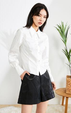 簡約明線設計長袖工裝襯衫