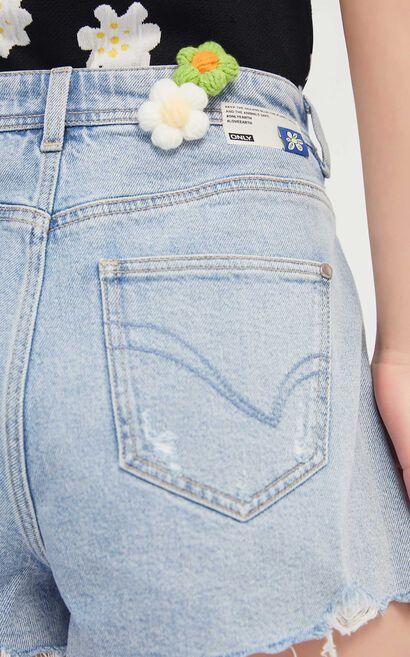 刺繡圖案不對襯牛仔褲裙, 藍, large
