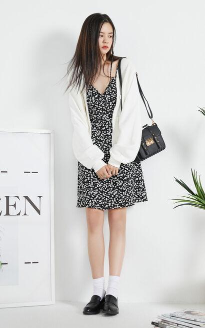 【秋冬新款】簡約純色紐扣門襟短版針織衫, 白, large