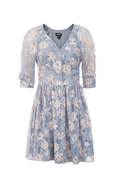 流蘇V領五分袖碎花洋裝, 藍, large