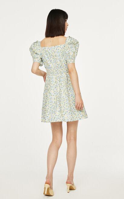 泡泡袖收腰碎花洋裝, 淺綠, large