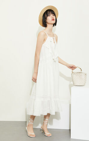 純棉繫帶花邊白色仙氣吊帶洋裝