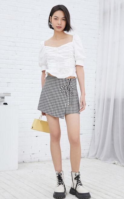 復古方領褶皺花邊短版上衣, 白, large
