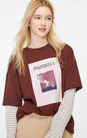 印花網紗寬鬆純棉T恤