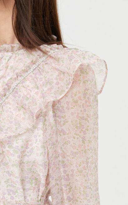 甜美清新荷葉花邊洋裝, 白, large