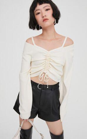 性感迷人V領短款針織衫