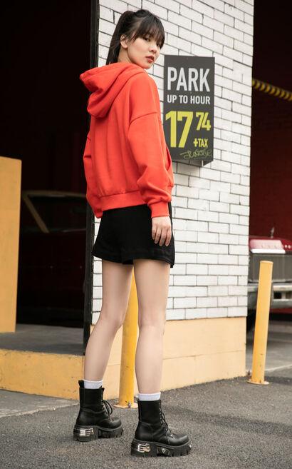 小牛圖騰抽繩連帽上衣, 紅色, large