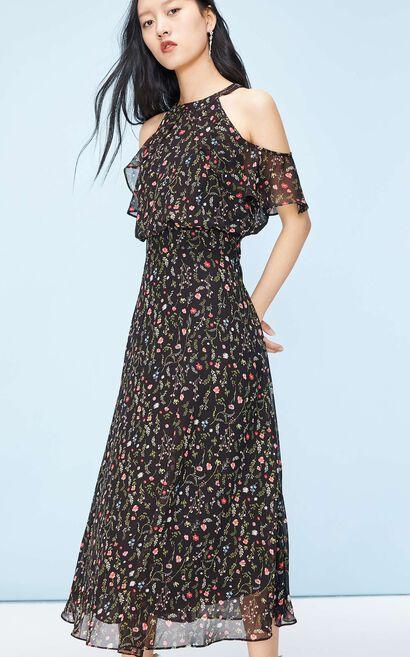 露肩雪紡收腰顯瘦長款洋裝, 米色, large