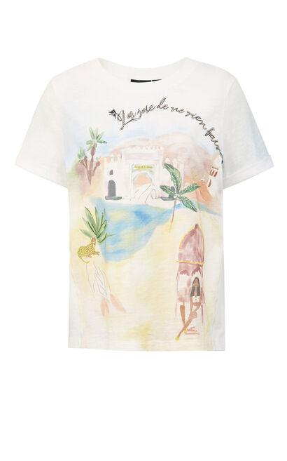 印花圓領短袖T恤, 白, large