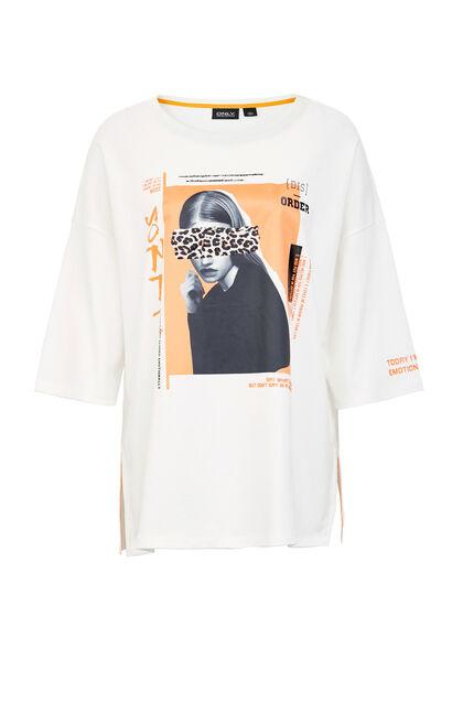 ONLY2019秋季新款豹紋印花寬鬆純棉T恤, 白, large