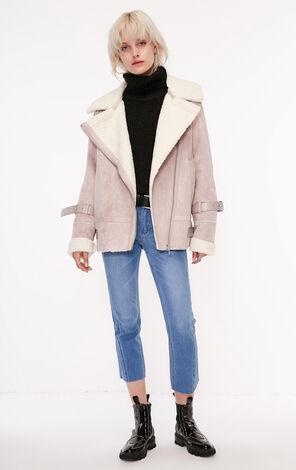 秋季新款羊羔絨絨面棉服外套女|118322503
