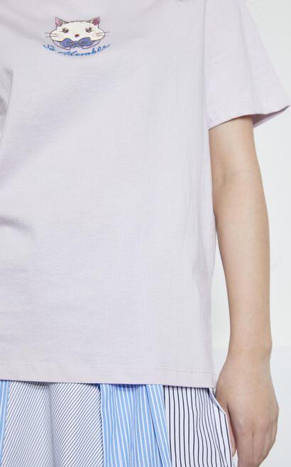 簡約動物刺繡短袖T恤, 紫色, large