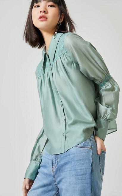 氣質編織工藝長袖襯衫, 軍綠, large