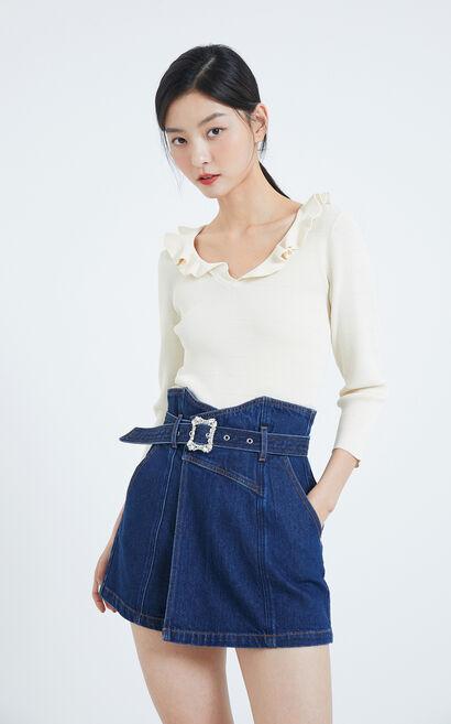 高腰花苞繫帶寬版丹寧褲, 水藍色, large