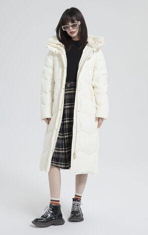 純色兔毛高領長版羽絨外套