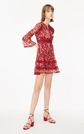 ONLY2019春季新款氣質收腰蕾絲雪紡連衣裙