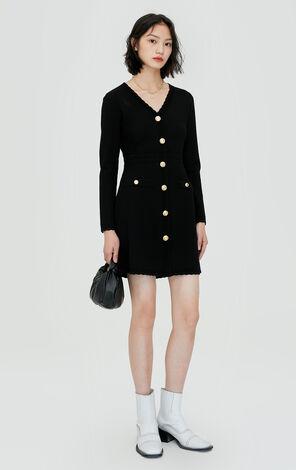 氣質優雅V領針織連衣裙