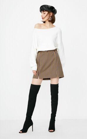 秋季新款寬鬆橫紋圓領針織衫女|118324551