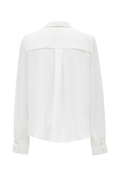 職場簡約純色百搭長袖白襯衫, 白, large