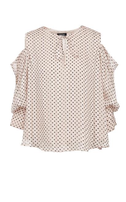 波點露肩甜美雪紡衫, 粉色, large