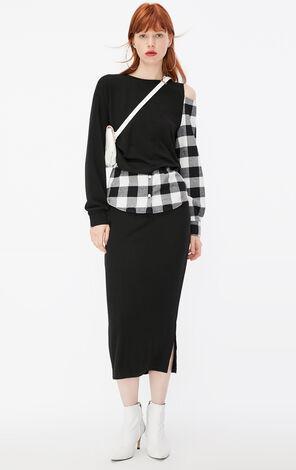 ONLY2019秋季新款黑色格子假兩件連衣裙