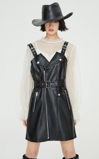 率性俐落修身兩件式PU洋裝, 黑, large