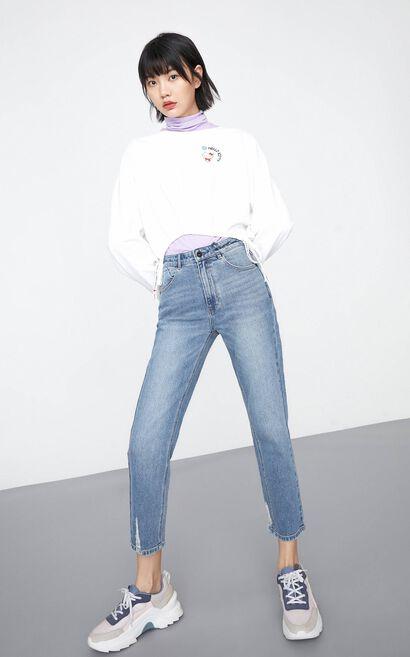 【秋冬新款】九分高腰顯瘦寬鬆直筒丹寧褲, 藍, large