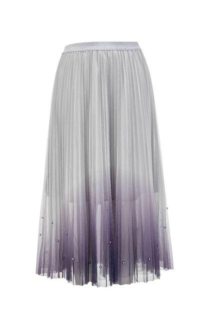 時尚優雅漸層色彩網紗百褶中長裙, 紫色, large