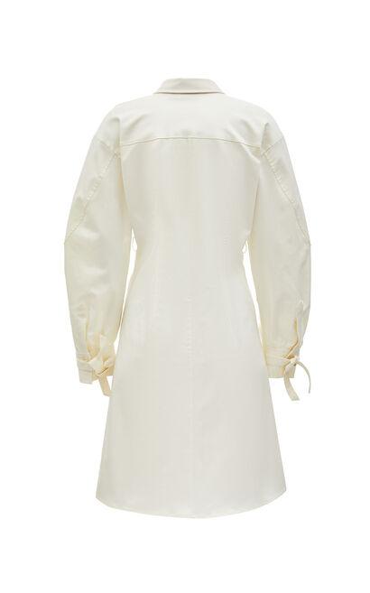 簡約純色修身設計感洋裝, 白, large