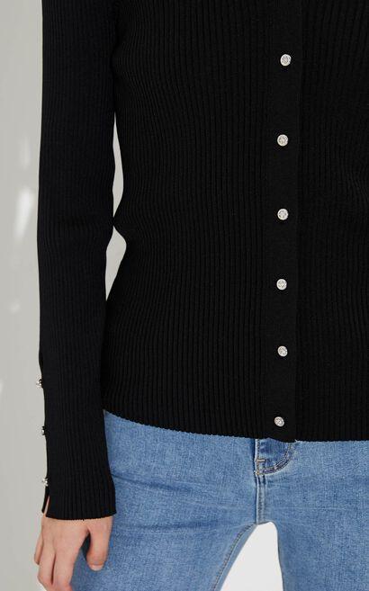 簡約百搭素色修身V領針織衫, 黑, large