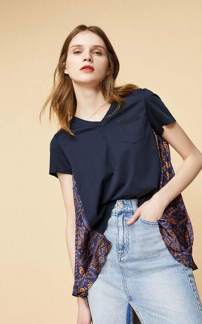 民族印花設計短袖T恤, 紫色, large