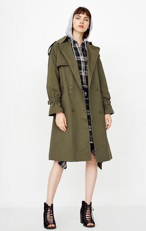 秋季新款繫帶長款風衣外套女|118336520