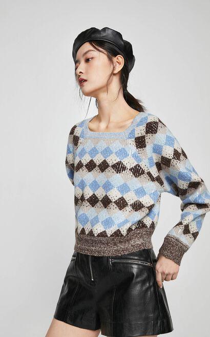 【春季新款】復古方領幾何圖騰針織衫, 藍, large