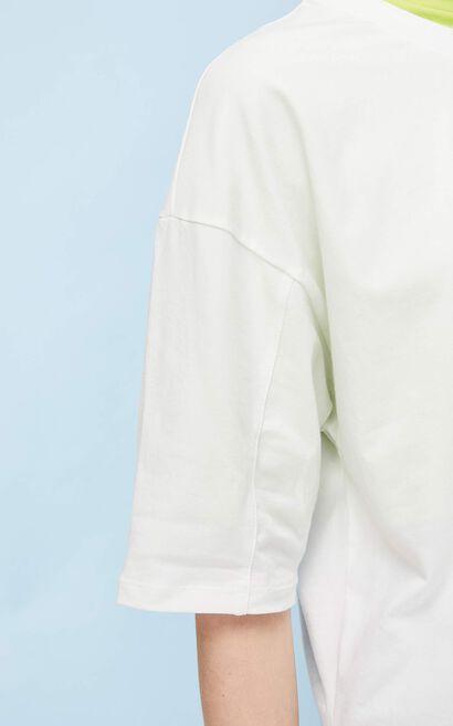 印花圓領七分袖T恤, 米色, large