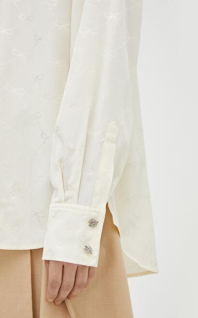 時尚浮雕3D印花設計感寬鬆襯衫, 白, large