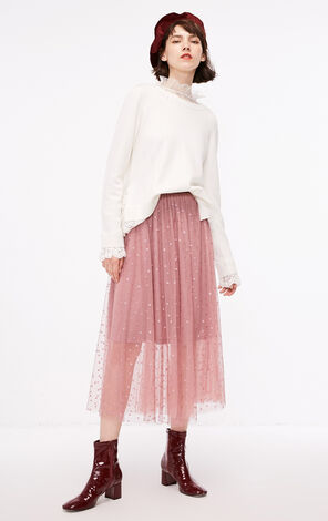 冬季新款蕾絲拼接套頭毛衣針織衫女|118313564