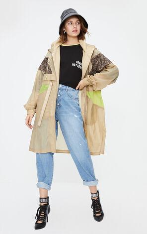 ONLY2019秋季新款豹紋中長版風衣外套|119336541
