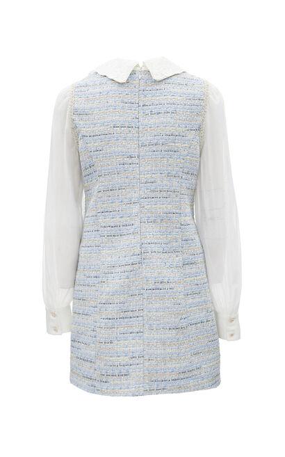 優雅格紋毛呢蕾絲領收腰洋裝, 藍, large