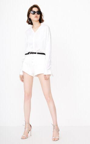 夏季新款前短後長抽褶長袖襯衫女|118305502