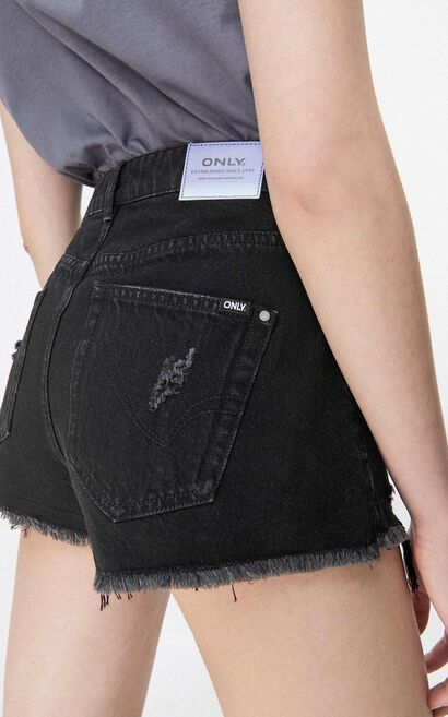 刷破高腰顯瘦牛仔短褲, 黑, large