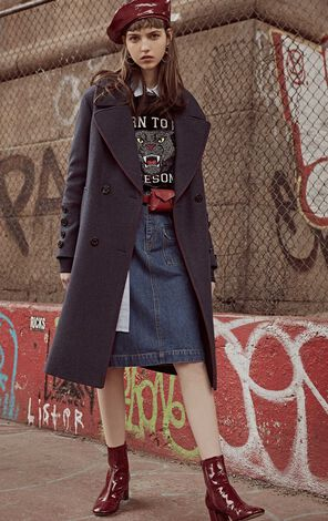 冬季新款含羊毛滾邊雙排扣毛呢外套女|11834S530
