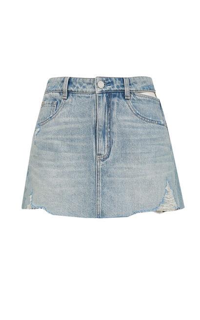 性感露腰牛仔短褲, 藍, large