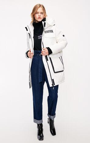 冬季新款多口袋連帽長款羽絨服女|118312539