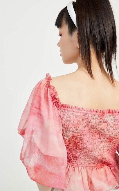 優雅燈籠袖荷葉雪紡上衣, 品紅色, large